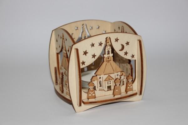 Teelichthalter Seiffener Kirche und Kurrende