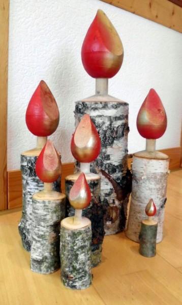 Holzkerzen Birke gedrechselt